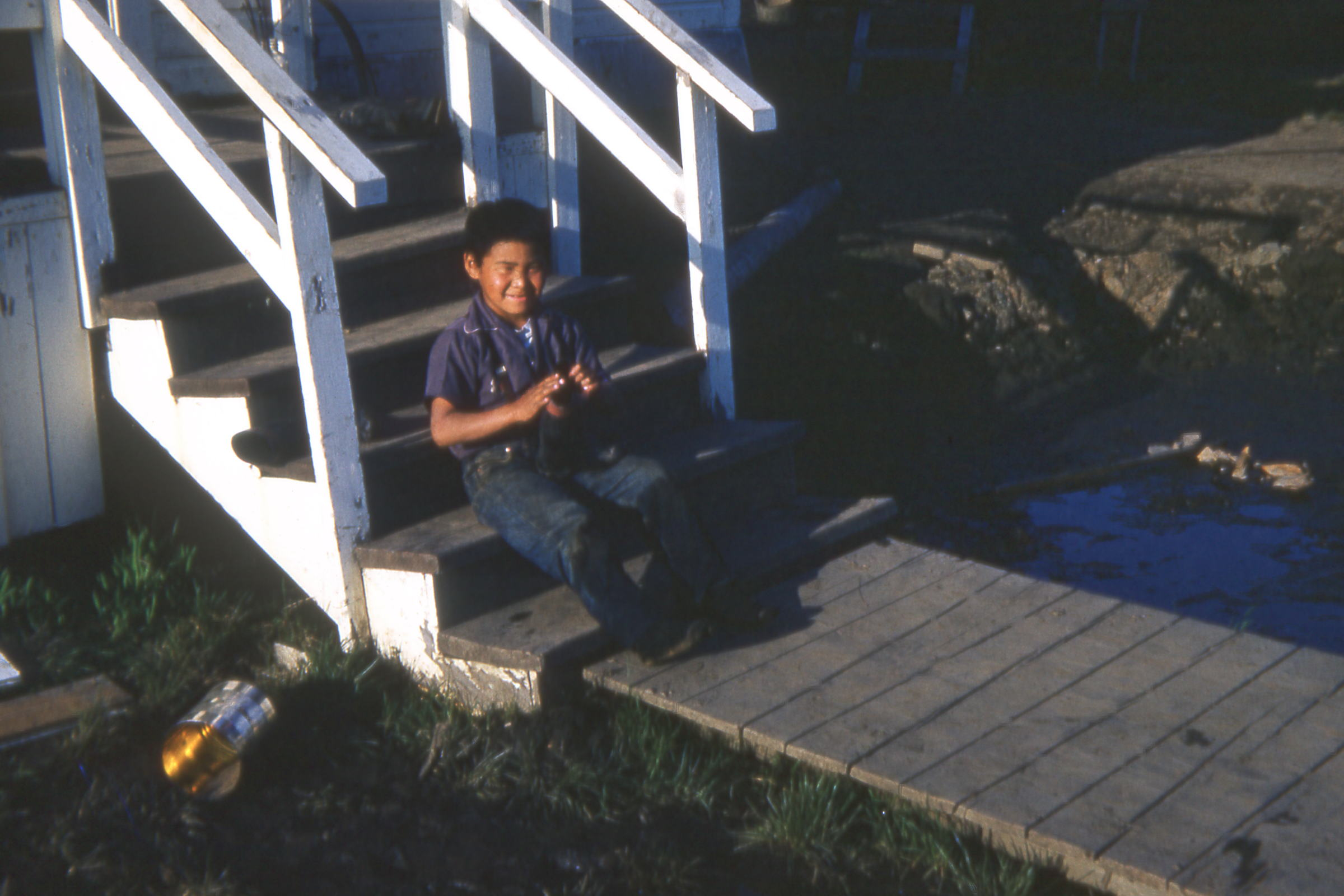 1964 June and Boy in front of Sup House